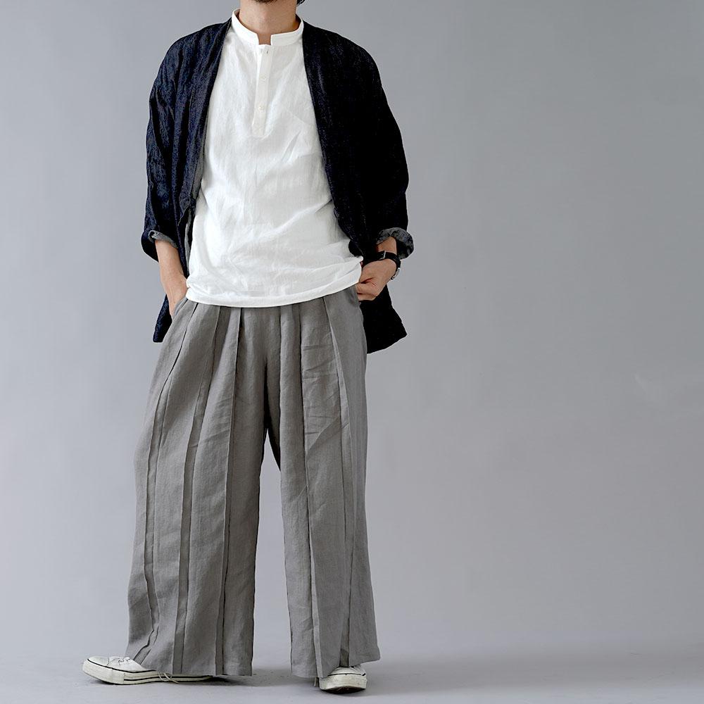 【wafu】男女兼用 リネン100% さむらいパンツ  samurai プリーツパンツ ベルト付き やや薄地 40番手/鈍色(にびいろ) b005g-nib1