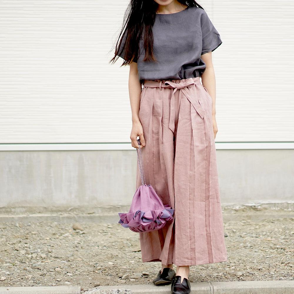 【wafu】男女兼用 リネン100% さむらいパンツ  samurai プリーツパンツ ベルト付き やや薄地 40番手 /蘇芳香(すおうこう) b005g-sok1