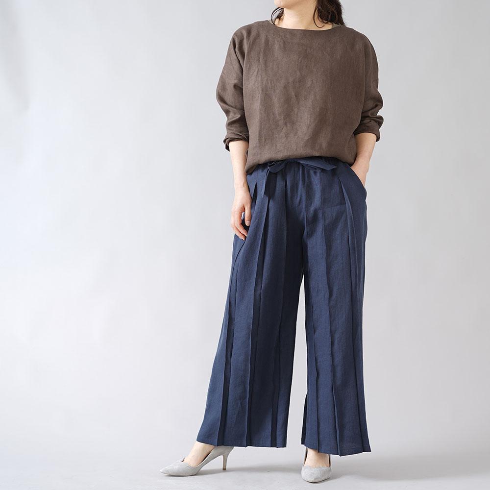 【wafu】男女兼用 リネン100% さむらいパンツ  samurai プリーツパンツ ベルト付き やや薄地 40番手/留紺(とめこん) b005g-tmk1