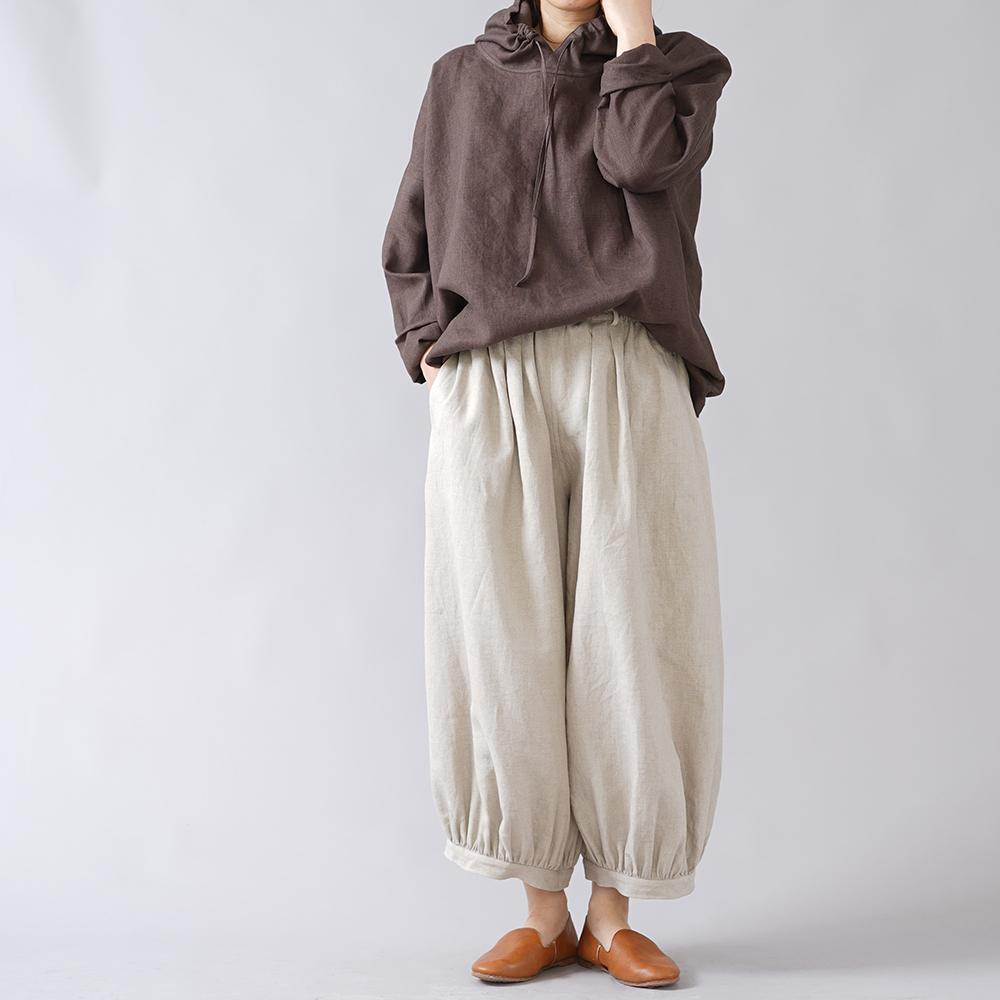【wafu】リネン アラジン ボールパンツ やや薄手 40番手/亜麻ナチュラル b005j-amn1