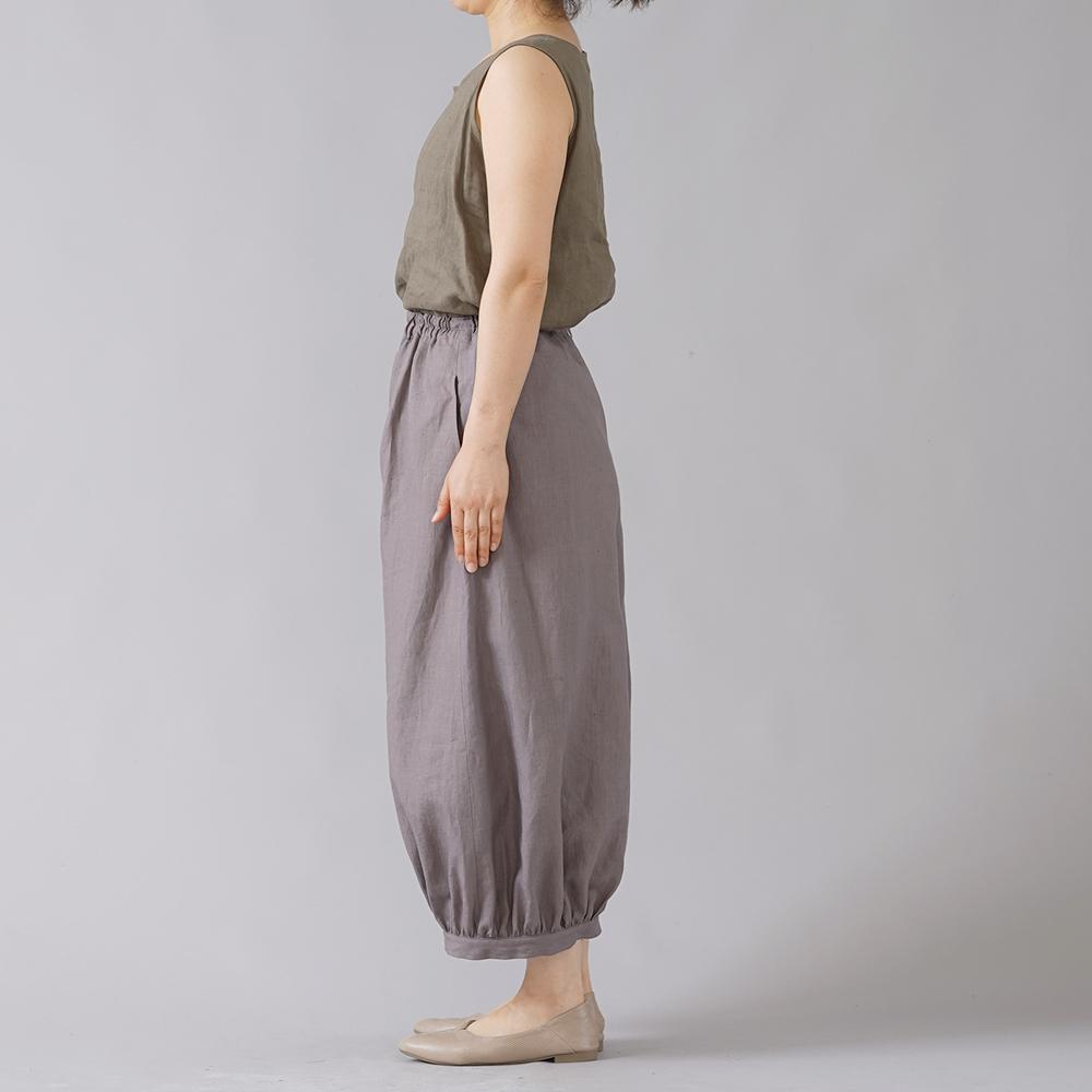 【wafu】超高密度リネン アラジン ボールパンツ やや薄地 60番手 /茶鼠(ちゃねずみ) b005j-cnz1