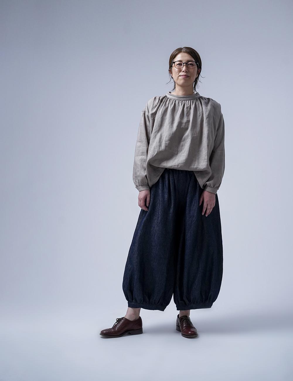 【wafu】Linen Denim アラジンパンツ /ダークインディゴ b005l-din3