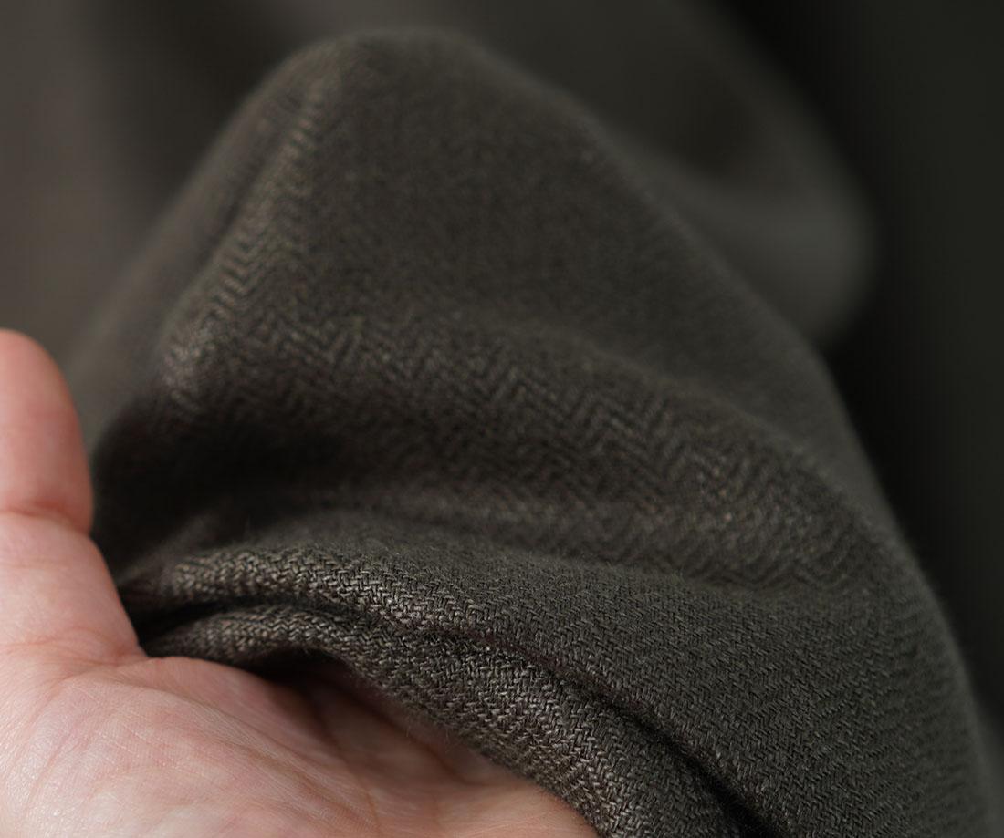 中厚 リネン 先染めヘリンボーン織り パンツ ワイドリラックスパンツ ワイドパンツ ロングパンツ ボトムス ウエストゴム ベルトループ /モスグリーン【M-L】b006a-sgn2