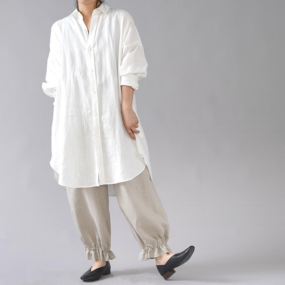 【wafu】裾ギュンリネンパンツ 裾がすぼまってるパンツ 男女兼用 やや薄地 /亜麻ナチュラル b006f-amn1
