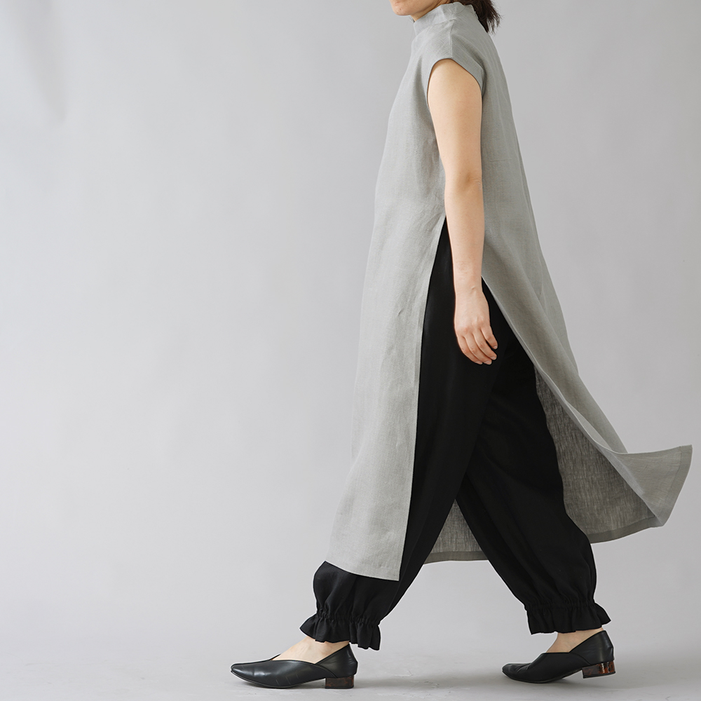 【wafu】裾ギュンリネンパンツ 裾がすぼまってるパンツ 男女兼用 中厚地/ブラック b006f-bck1