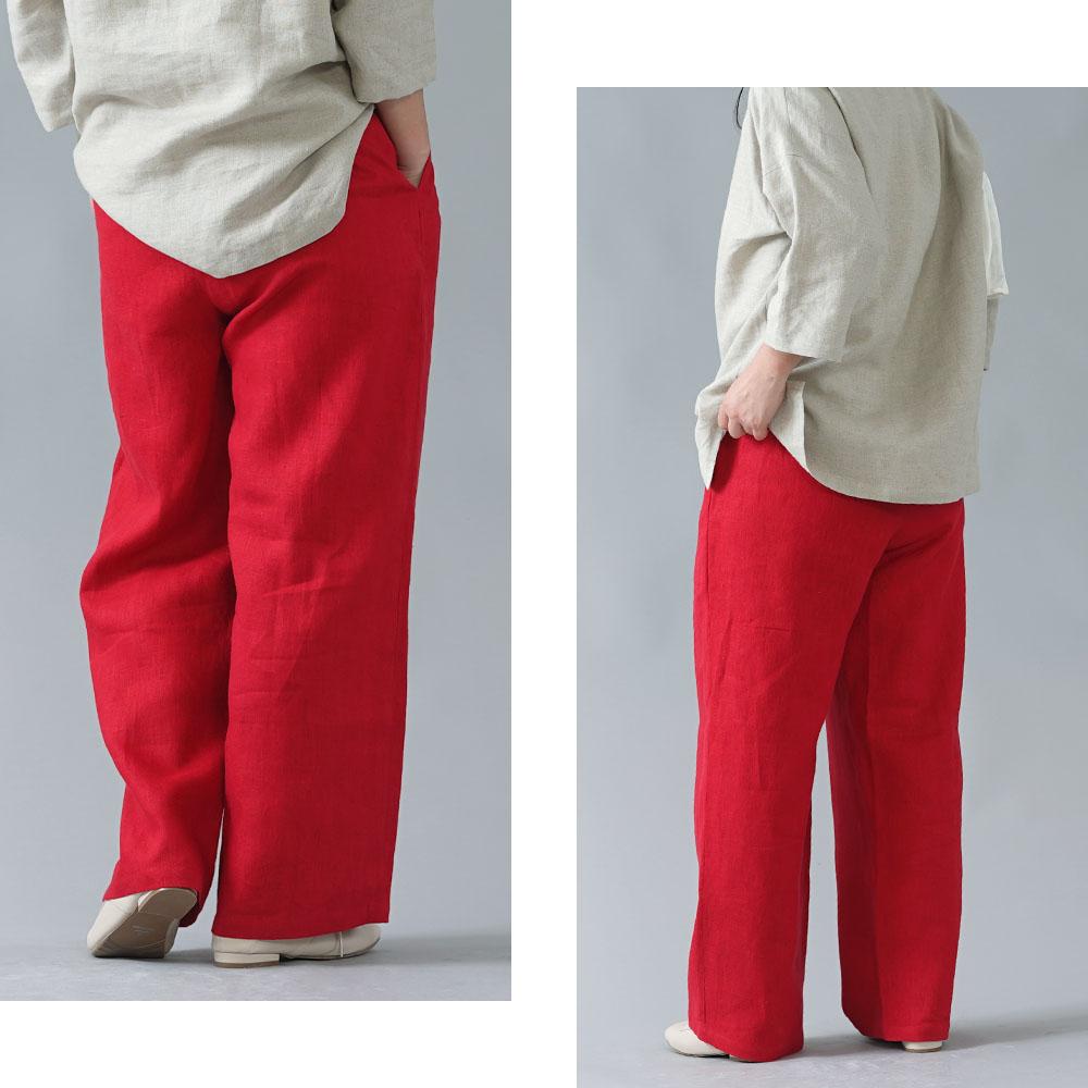【wafu】中厚 リネン パンツ スリータック 後ろゴム ベルトループ ポケット付き ストレート リネンパンツ/レッド【M-L】b010e-red2
