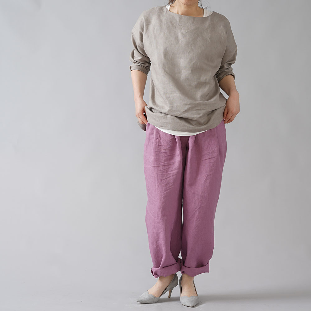【wafu】超高密度リネン 2タック ボールパンツ 男女兼用 やや薄地 60番手/藤色(ふじいろ) b010i-fji1