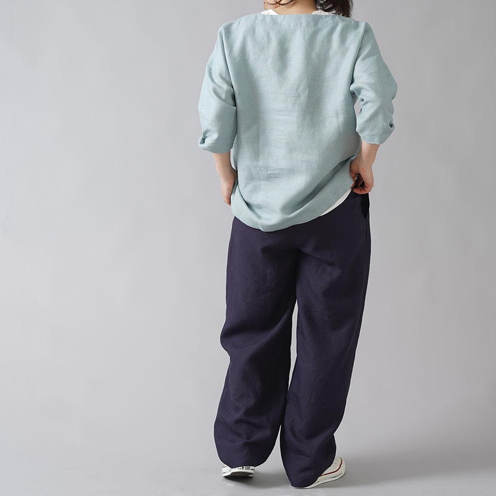 【wafu】超高密度リネン 2タック ボールパンツ 男女兼用 やや薄地 60番手/黒紅色(くろべにいろ) b010i-kbi1