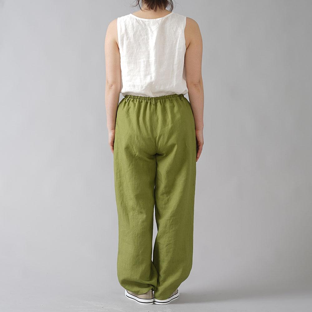 【wafu】超高密度リネン 2タック ボールパンツ 男女兼用 やや薄地 60番手/苔色(こけいろ) b010i-kki1