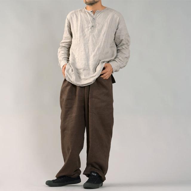 【wafu】中厚 リネンバギー パンツ センターswitch ワイドパンツ / アドーブブラウン【free】b011a-abn2-m