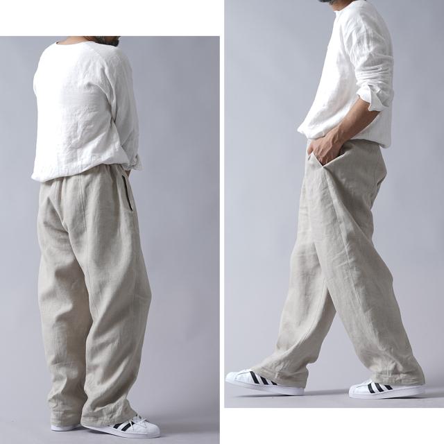 【wafu】男女兼用 中厚 リネンバギー パンツ  ゆる ユニセックス ワイドパンツ  / 【free】b011b-amn2