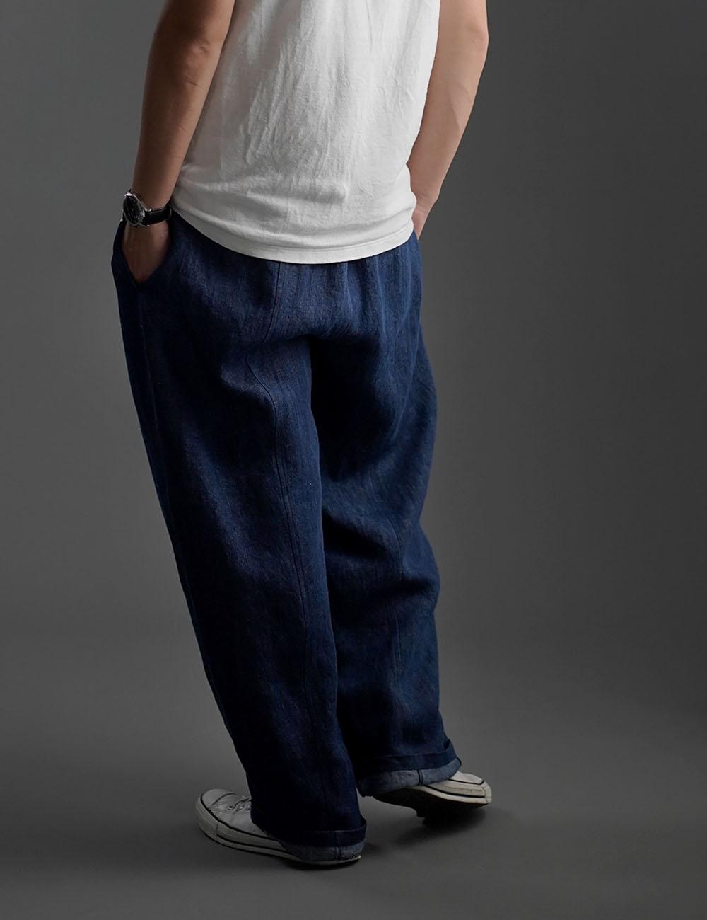 【wafu】Linen denim pants デニムバギーパンツ 男女兼用 /インディゴ b011b-ind3