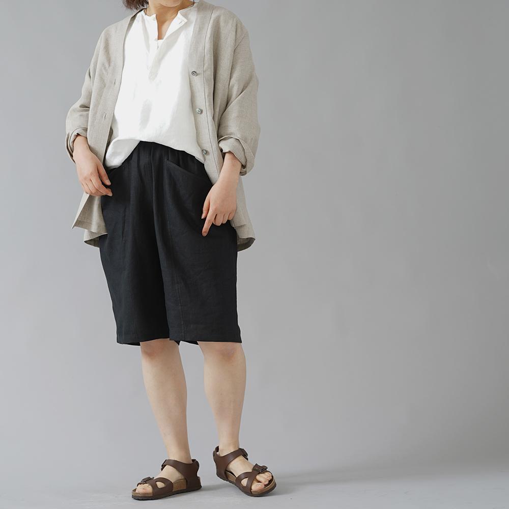 【wafu】ポケットについつい手を入れたくなるやつ。リネンハーフパンツ 男女兼用 中厚/ブラック b012e-bck1