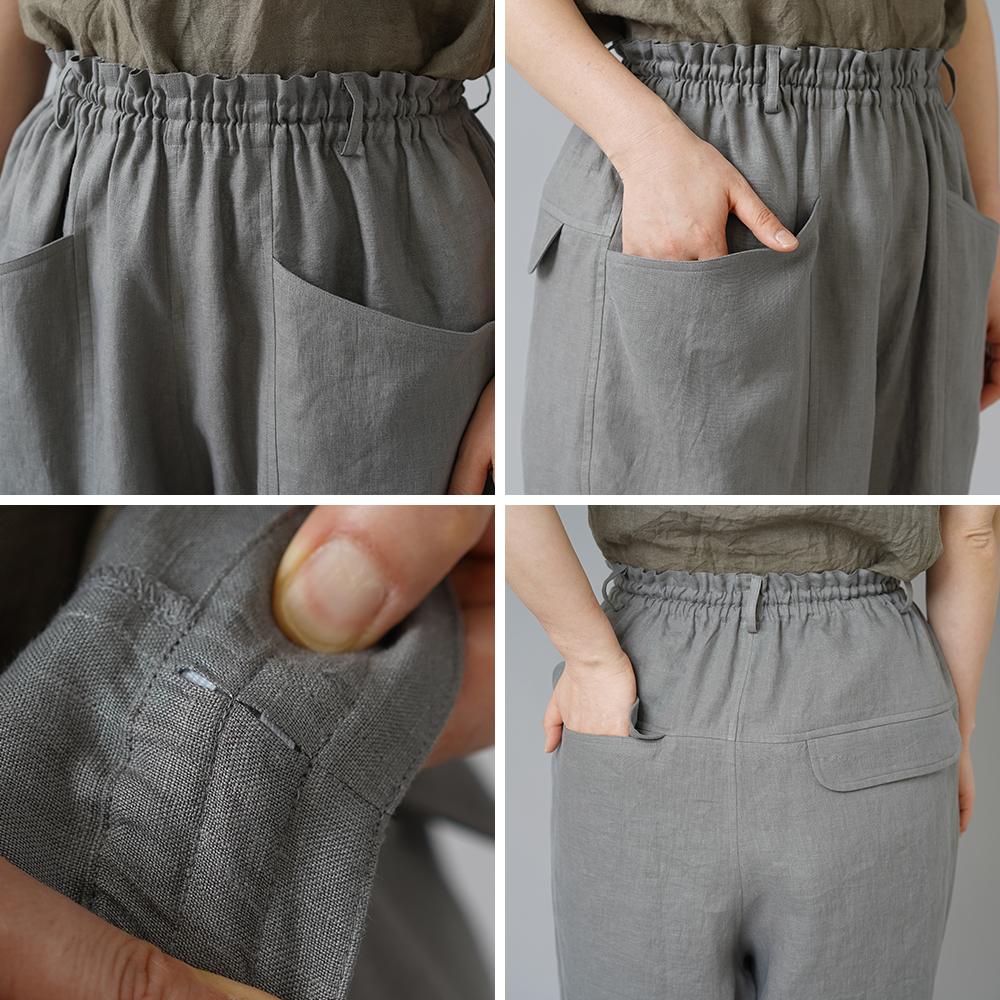 【wafu】ポケットについつい手を入れたくなるやつ。リネンハーフパンツ 男女兼用 中厚/鈍色(にびいろ) b012e-nib1