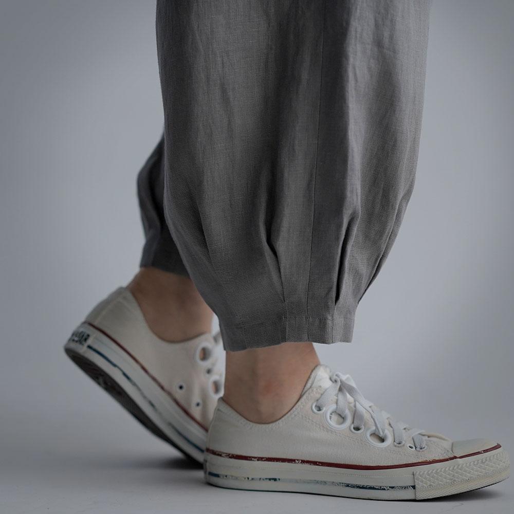 Linen Pants 裾タック ボトムス ヨガパンツにも / 鈍色(にびいろ) b013a-nib1