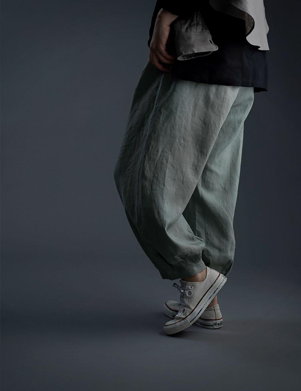 Linen Pants 裾タック ボトムス ヨガパンツにも /青磁鼠(せいじねず) b013a-snz1