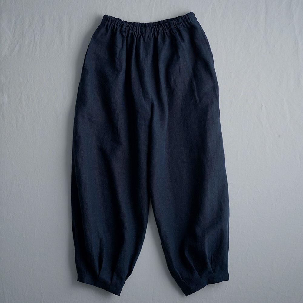 Linen Pants 裾タック ボトムス ヨガパンツにも / 留紺(とめこん) b013a-tmk1