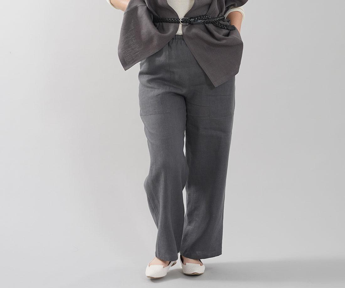 中厚地 リネン ベイカーパンツ ボトムス パンツ  ロングパンツ リラックスパンツ ウエストゴム ポケット付き ワークパンツ / ディムグレー【M-L】b013d-dmg2