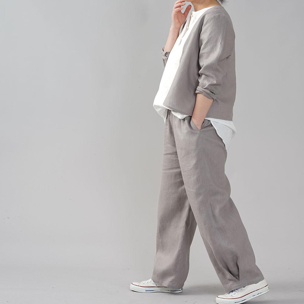 中厚地 リネン ボールパンツ ボトムス サイドタック 裾タック ゆったり リラックスパンツ ウエストゴム ロング丈 メンズライク/アッシュパール【free】b013g-asp2