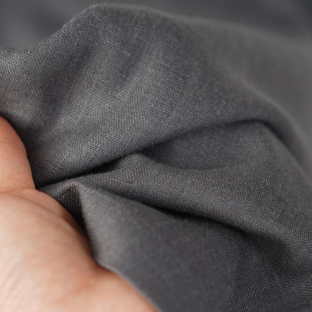 中厚地 リネン ボールパンツ ボトムス サイドタック 裾タック ゆったり リラックスパンツ ウエストゴム ロング丈 メンズライク/ディムグレー【free】b013g-dmg2
