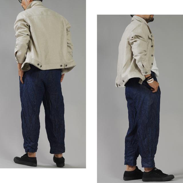 厚地 リネンデニムパンツ 男女兼用 育てていくデニム 色落ちします。 裾タックパンツ ボトムス ズボン デニムパンツ ウエストゴム 裾カフス/インディゴ【free】b013h-ind3-m