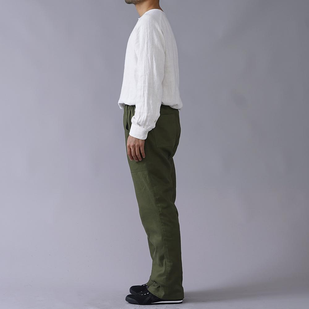 【wafu】Herdmans Linen ストレッチリネン ベイカーパンツ /ゴーディグリーン【free】b013j-ggn2
