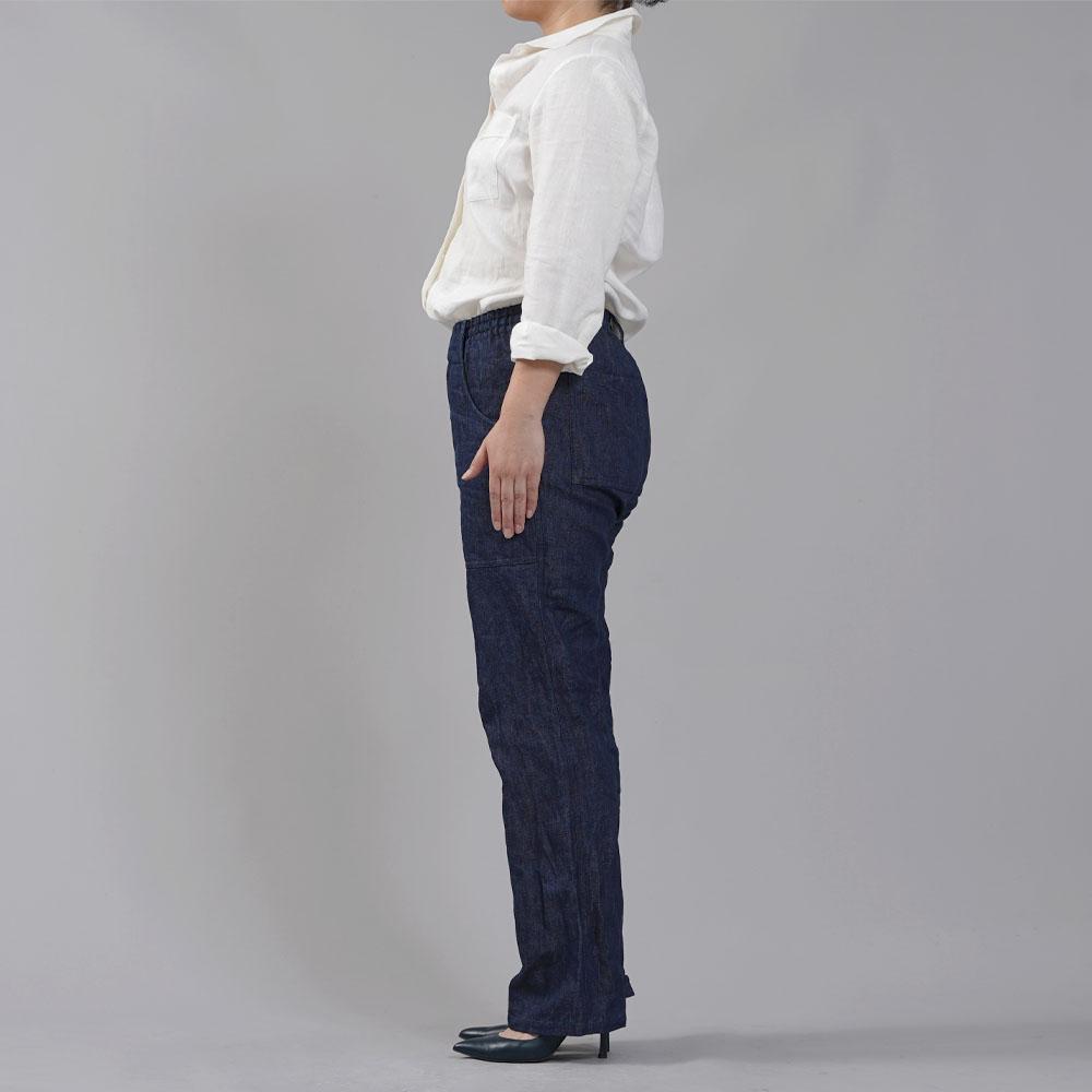 【wafu】厚地 リネンベイカーパンツ 男女兼用 育てていくデニム 色落ちします デニムパンツ リネンデニム ウエストゴム/インディゴ【free】b013k-ind3