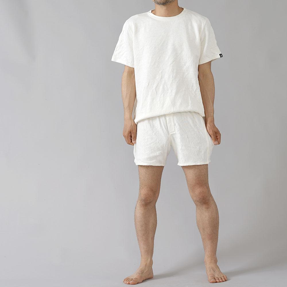 【wafu】唯一無二のリネン100% トランクス 下着 肌着 縮むのでその分大きくしています。/白 b014h-wht3