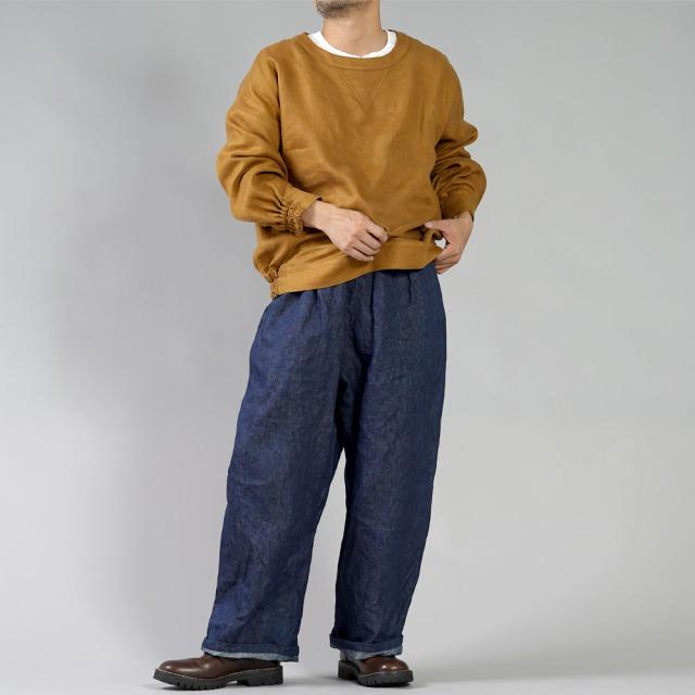 【wafu】厚地 リネンデニム ワイドパンツ 育てていくデニム・ 色落ちもします。ドカンパンツ /インディゴ【free】b018a-ind3-m