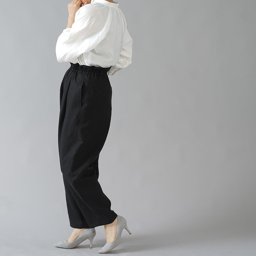 【wafu】超高密度リネン Vクラシック タックパンツ やや薄地 60番手/黒色 b018c-bck1