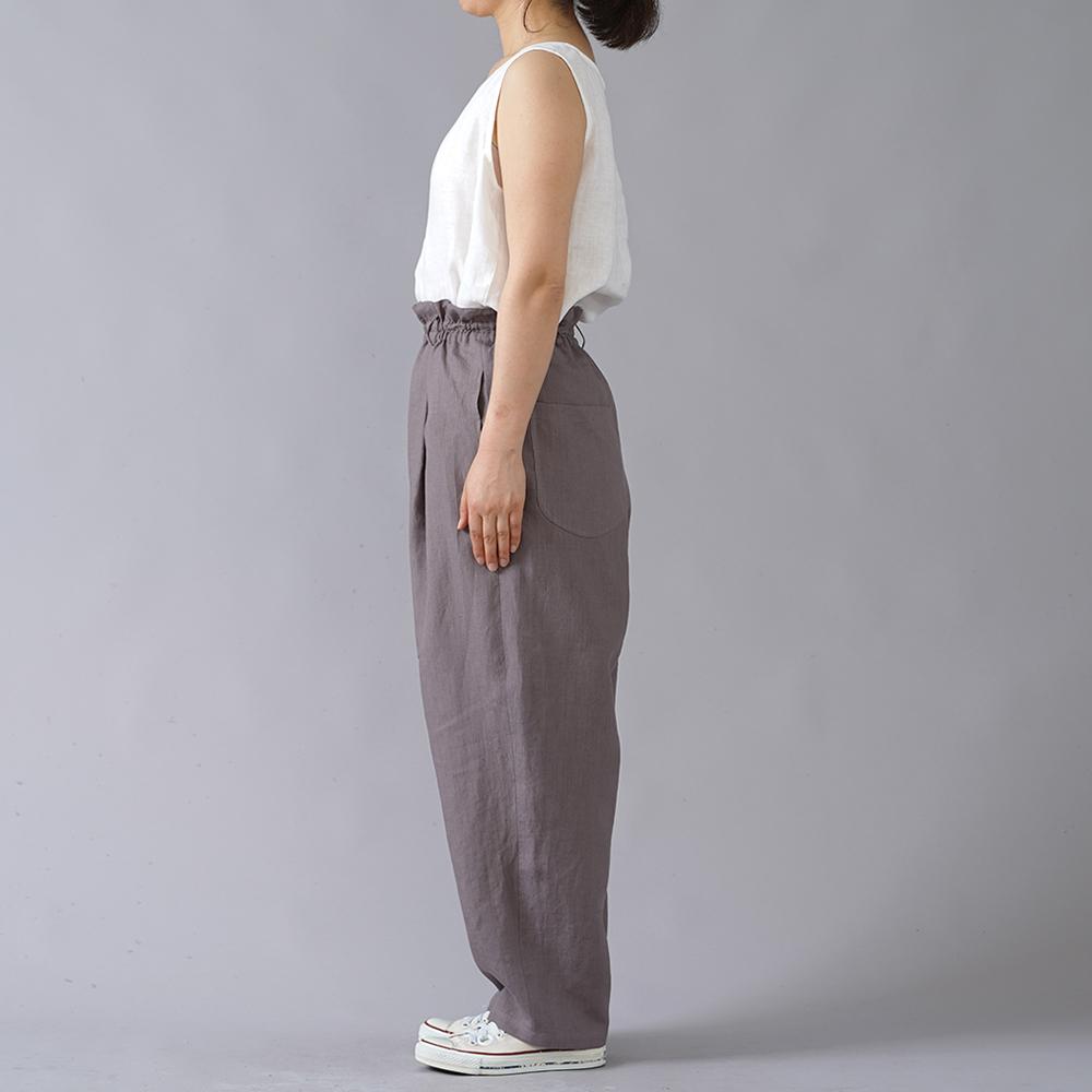 【wafu】超高密度リネン Vクラシック タックパンツ やや薄地 60番手/茶鼠(ちゃねずみ) b018c-cnz1
