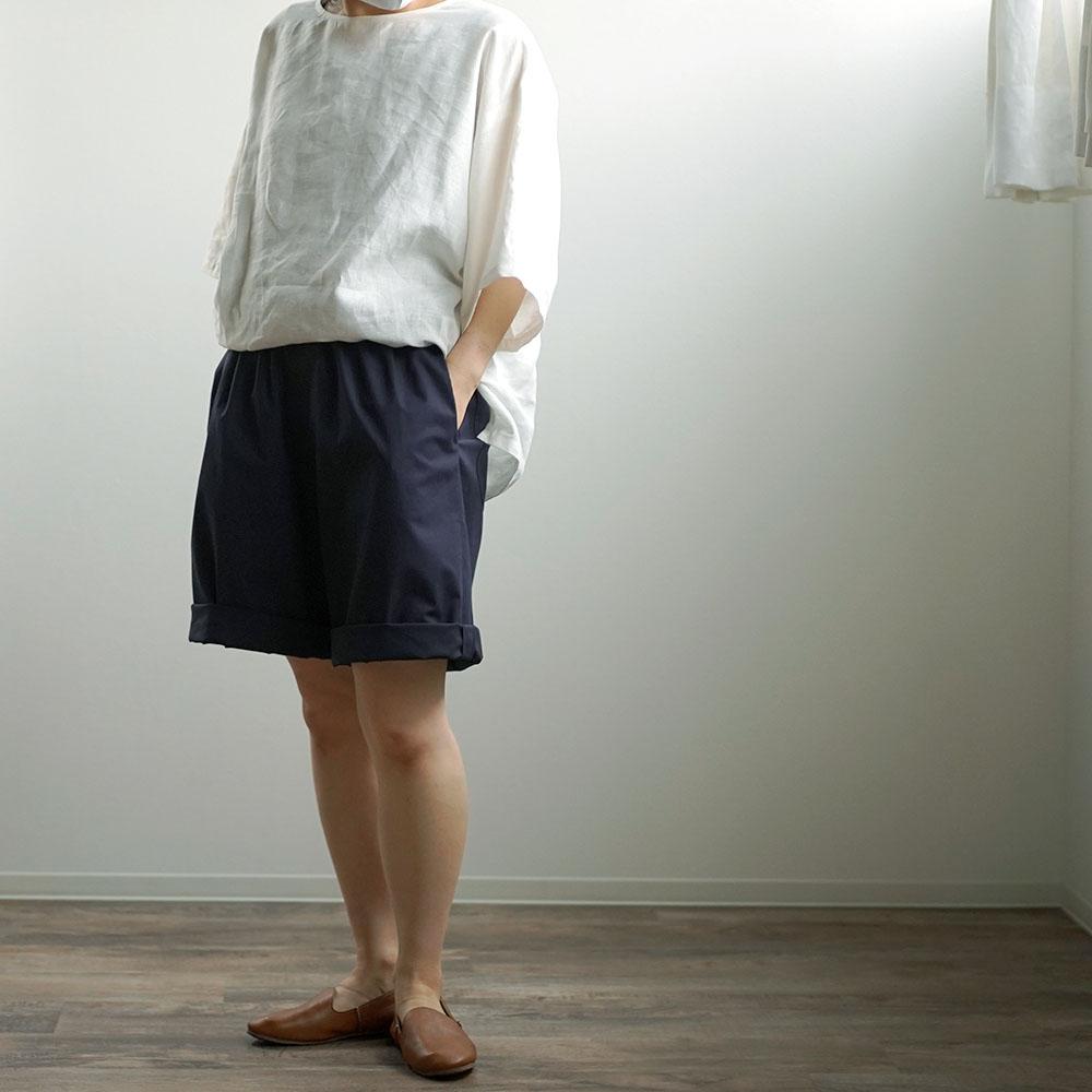 【見習い製作品】男女兼用 リネン混 ワイドハーフパンツ #training/ネイビー b018d-neb2