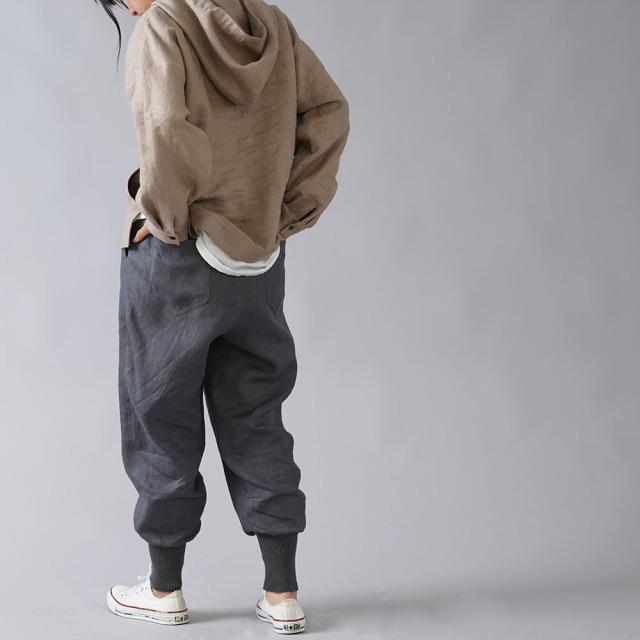 【wafu】中厚リネン スウェットパンツっぽいリネンパンツ/ディムグレー【free】b019a-dmg2