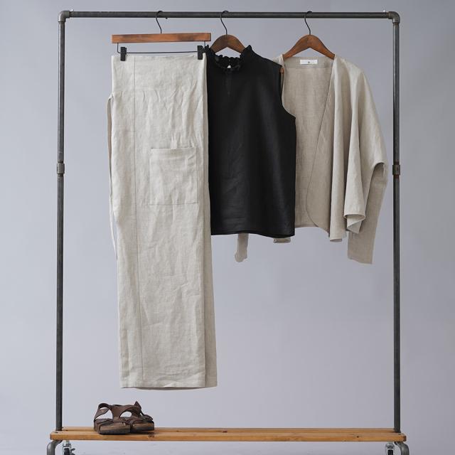 【wafu】中厚リネン タイパンツ リネンwide pants/亜麻ナチュラル【free】b021a-amn2