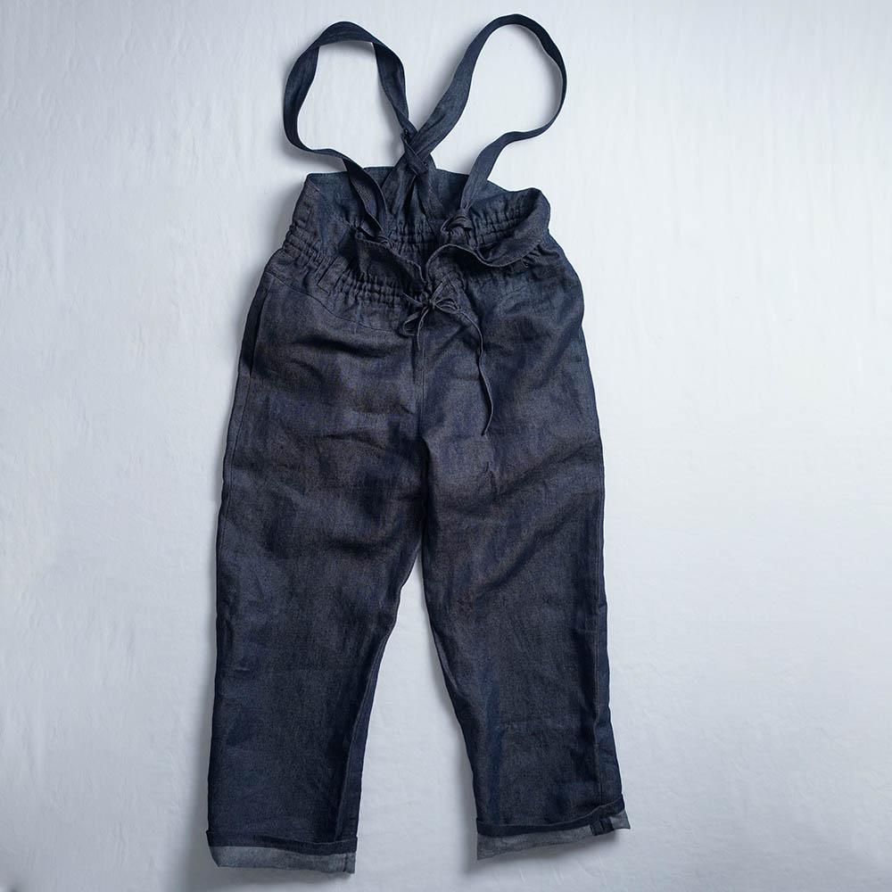 【wafu】男女兼用 無骨なリネンサロペット 岡山産リネンデニム  オーバーオール オールインワン デニムパンツ/ダークインディゴ b022a-din3