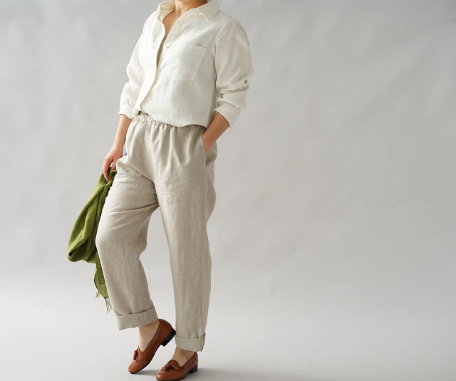 【wafu】中厚 リネン 本格 シャツ リネンシャツ シンプル 長袖 白シャツ / ホワイト【M-L】t032a-wht2