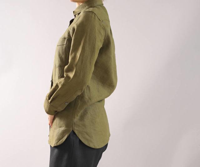 【wafu】本格 中厚 リネンシャツ カッタウェイ 長袖 オールシーズン / オリーブ【M-L】t032a-olv2