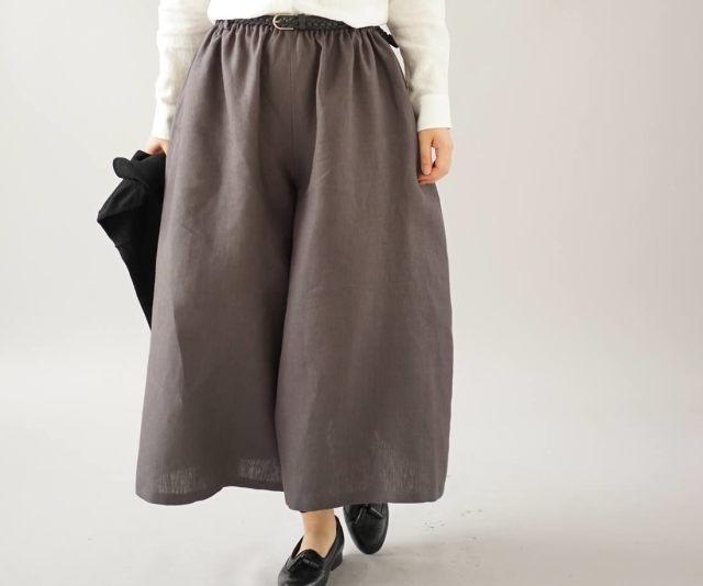 中厚 リネンパンツ 先染め ワイドスカーチョ キュロットパンツ ボトムス ポケット付き 半端丈 / 黒橡 くろつるばみ