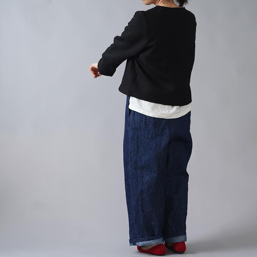 【wafu】中厚 リネン ボレロ カーディガン Vネック 長袖 羽織 フロントホック アウター リネンカーデ アウター/ブラック h001b-bck2