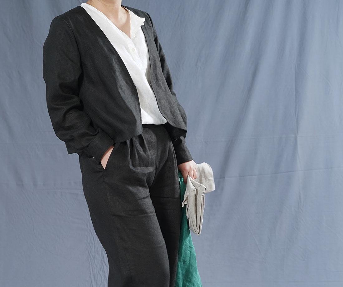 【wafu】中厚 リネン カーディガン 羽織 アウター カフスシャツ袖 Vネック ボレロ ジャケット 長袖 /ブラック【free】h001c-bck2