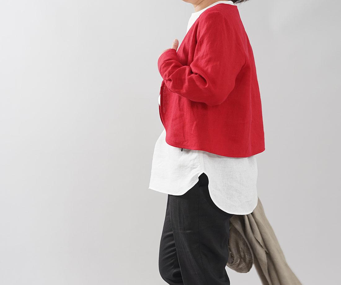 【wafu】中厚 リネン カーディガン 羽織 アウター カフス シャツ袖 Vネック ボレロ ジャケット 腕まくり 長袖 /レッド【free】h001c-red2