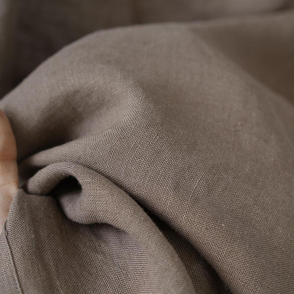 【wafu】リネン ボレロ 袖くしゅカーデ リネンカーディガン 先染め中厚/丁子茶(ちょうじちゃ) h001f-cja2