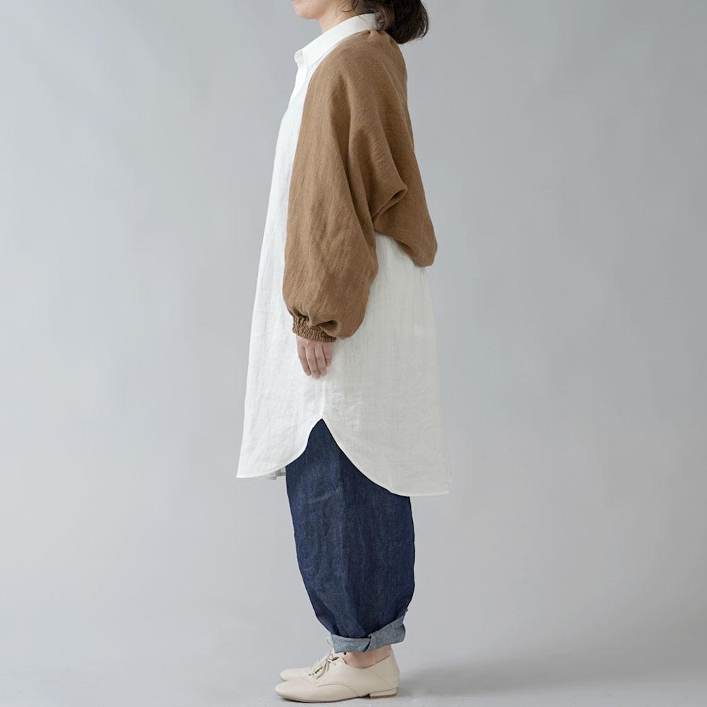 【wafu 入門編】リネンウール ボレロ カーディガン/カネル【free】h001f-cne3