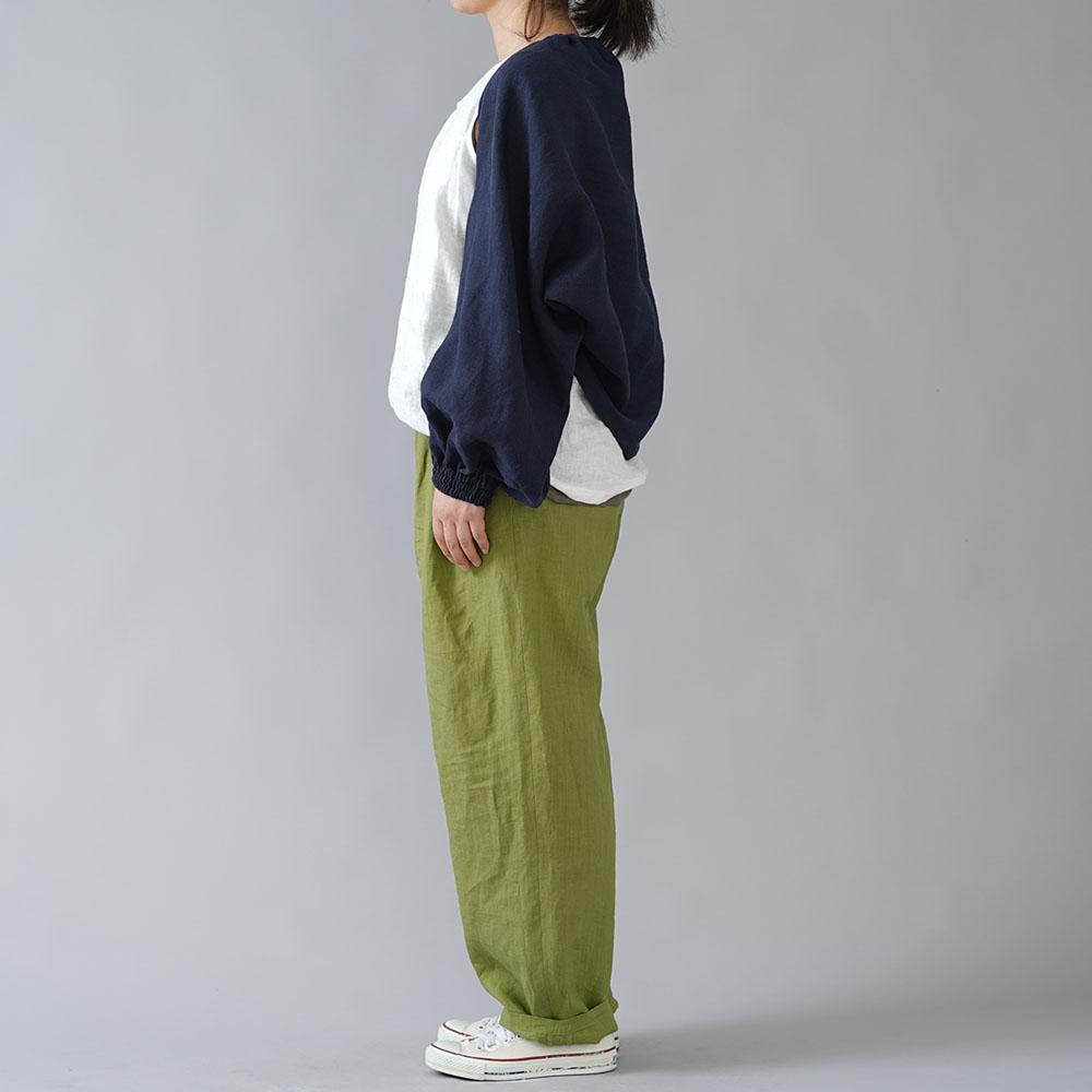 【wafu】リネン ボレロ 袖くしゅカーデ リネンカーディガン 先染め中厚/ネイビー h001f-neb2