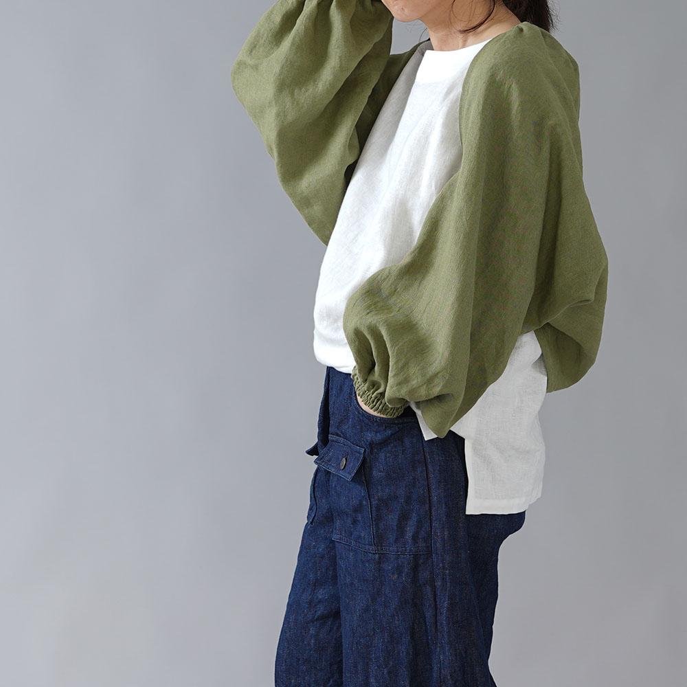 【wafu】リネン ボレロ 袖くしゅカーデ リネンカーディガン 先染め中厚/柳染(やなぎぞめ) h001f-ygz2