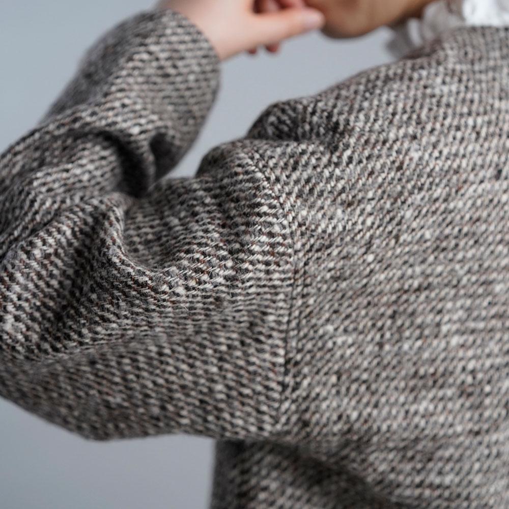 リネン裏地×ツイード ウール ジャケット 総裏付き wool 100% カラーネップ ボレロジャケット/ツイードブラウン【free】h005a-tbw3