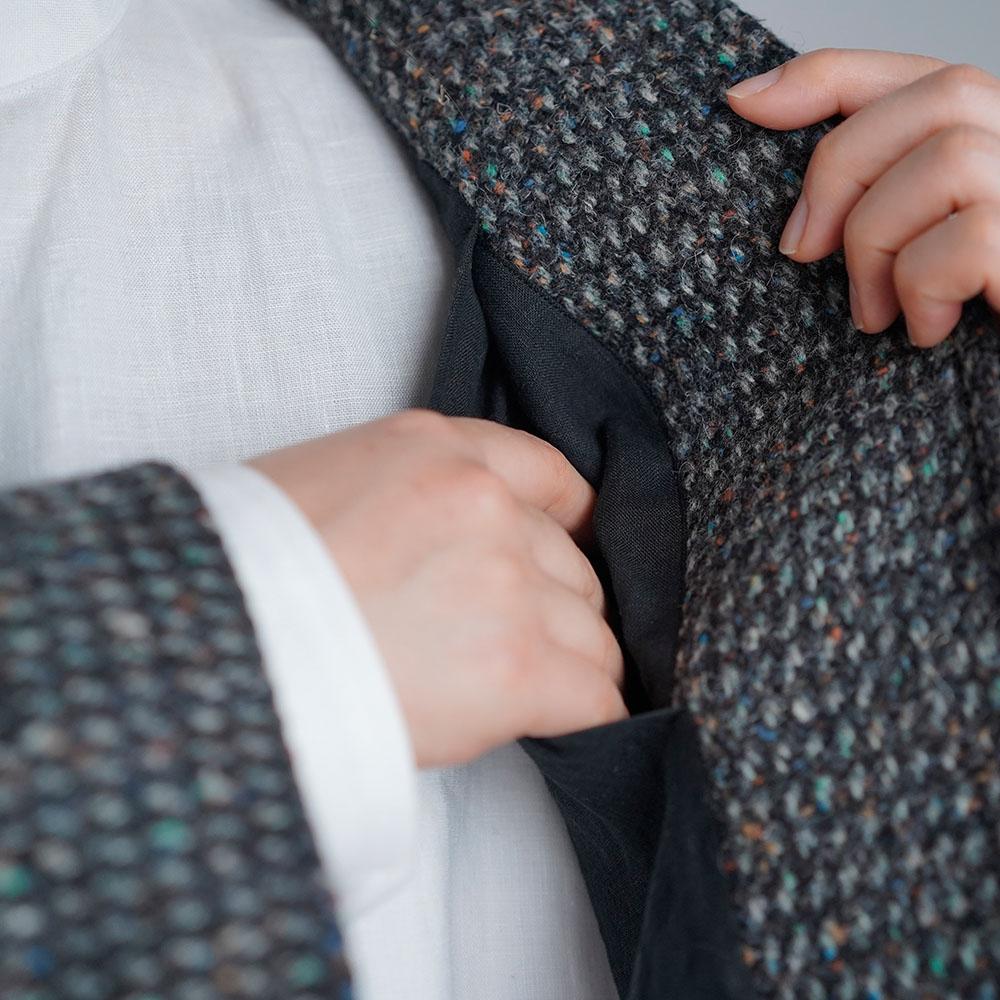 リネン裏地×ツイード ウール ジャケット 総裏付き wool 100% カラーネップ ボレロジャケット/ツイードグレー【free】h005a-tgy3