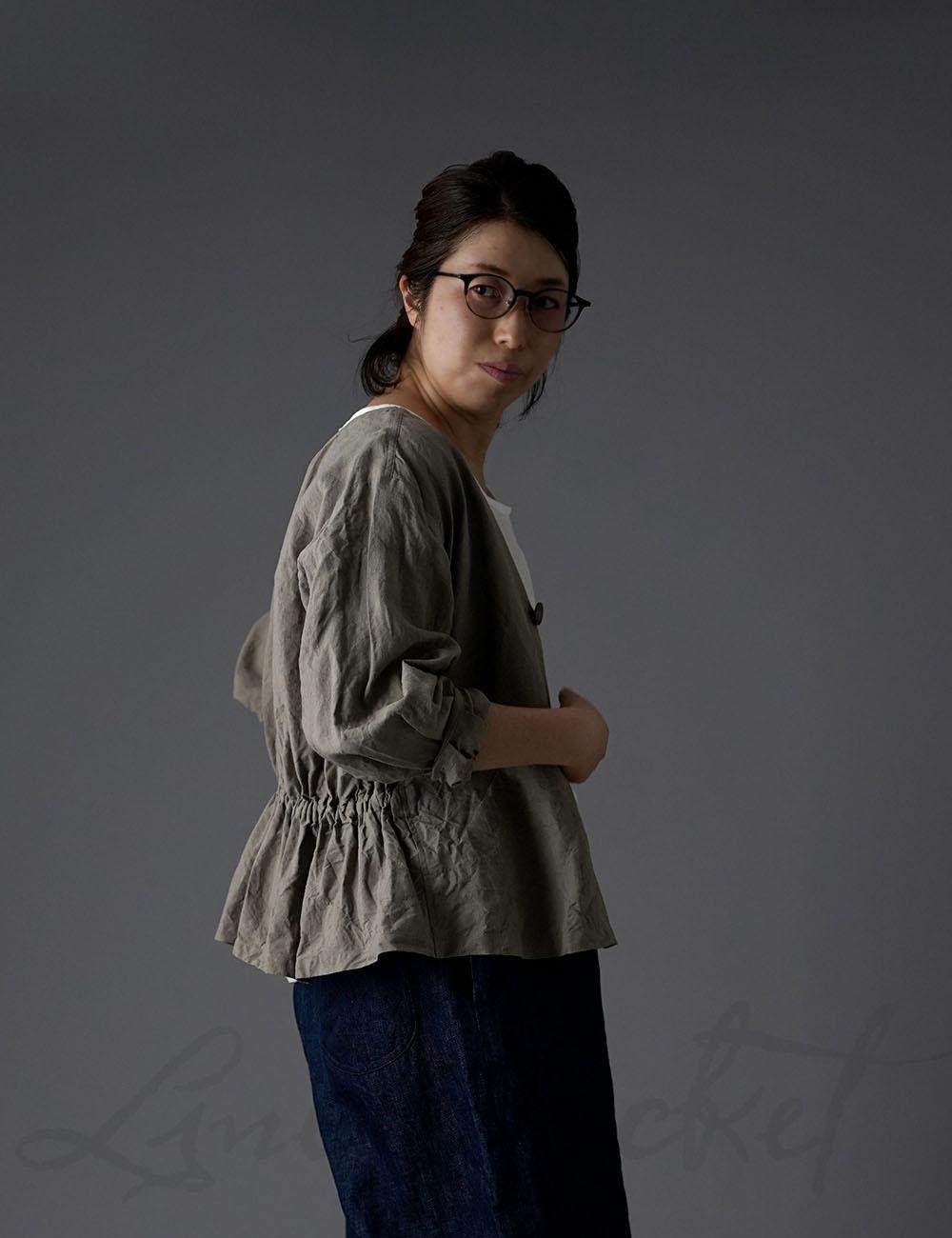 【7月10日21時~販売開始!】Linen Basque jacket リネン100% バスク・ジャケット ハンドワッシャー/ h005d-rku1