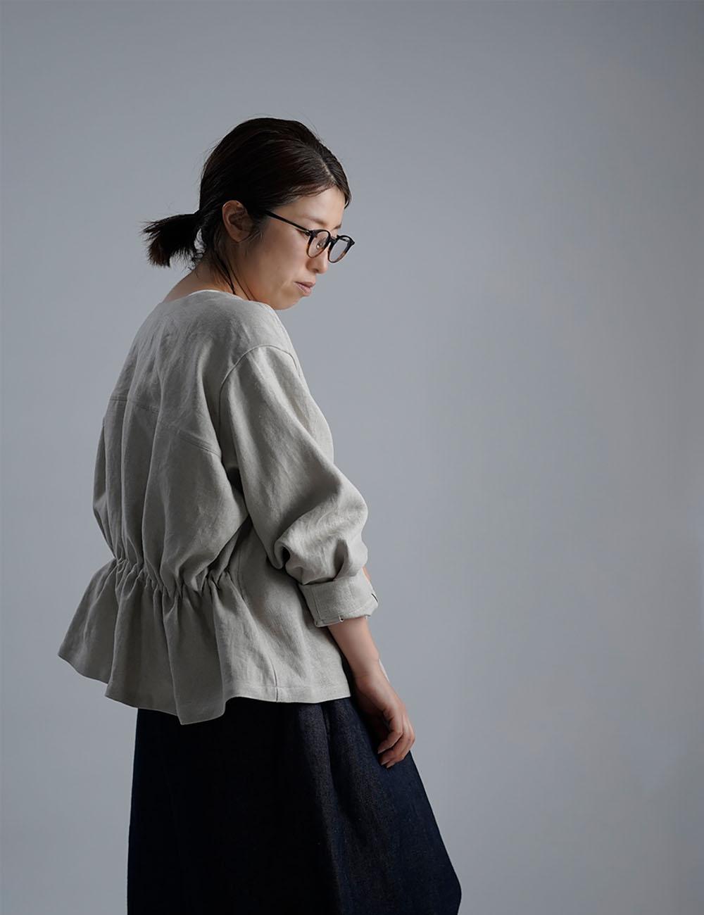【Premium Linen】 Basque jacket  艶バスク・ジャケット /フラックス h005e-flx2