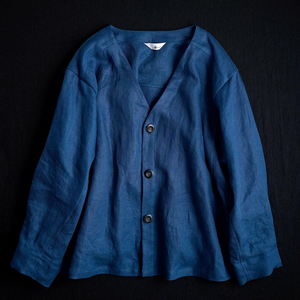 【Premium Linen】 Basque jacket  艶バスク・ジャケット / オーシャン h005e-ocn2